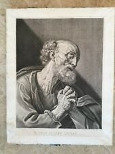 Gilles Rousselet 17 cent Petrus French engraving christianity Antique etching
