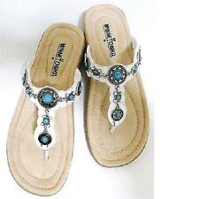 MINNETONKA Women's Boca White Thong Sandal Shoe 70201 SIZE 5 NEW