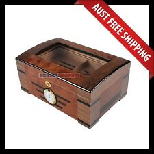 Armadale Glass Top Cigar Humidor, 100+ Cedar Cigar Box, Humidifier & Hygrometer
