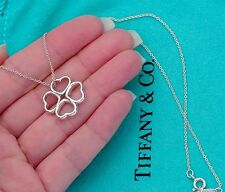 Tiffany & Co Sterling Silver Four Heart Clover Pendant 16 Inch Necklace
