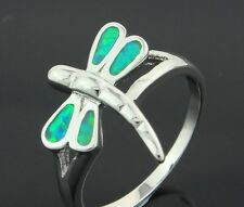 ***UK SELLER*Silver/Rhodium Plated KIWI GREEN FIRE OPAL Ring Size R & 1/2 - 8.75