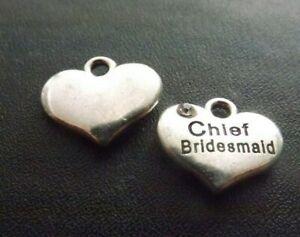 Chief Bridesmaid Rhinestone Pendant Charm Antique Silver Wedding Jewellery  x 10