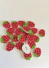10 pcs Wood Sewing Button Scrapbooking Strawberry Two Holes art. 372