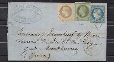 NAPOLEON N°25 + 27  et Cérès N° 60 tricolore LETTRE COVER besancon 1871 stamp