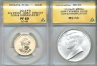 2015 P John F. Kennedy Two Chronicle Set Coins ANACS PF 69 / MS 69