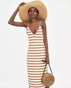 Zara Ribbed Strappy Mulicoloured V-Neck Long Midi Dress Size S / M - BNWT