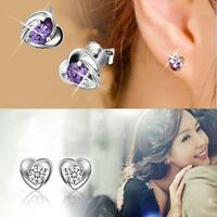 Elegant Women Ear Stud Earrings Heart Silver Plated