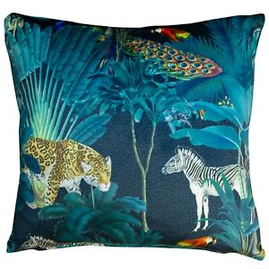 Palm Forest Velvet Cushion. Jungle Birds and Animals on a Bright Teal Background