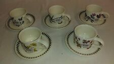 5 Portmeirion Botanic Garden China Assorted Drum Teacups w/Saucers - NEW!