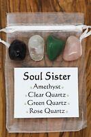 Soul Sister Crystal Gift Set Rose Clear Green Quartz Amethyst