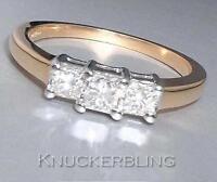 Diamond Trilogy 3-Stone Ring 0.50ct F VS Princess Cut in 18ct Gold