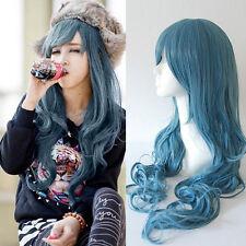 Damen Blau Haar Lange Gewellt Gelockt Volle Perücke Cosplay Partei Hair Wig