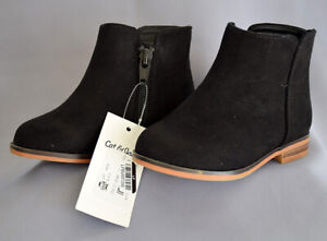 Cat & Jack Toddler Girl's Etoile Black Suede Size 6 Ankle Boots, NWT