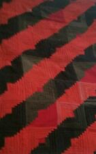 "Vintage Black & Red Log Cabin Quilt hand stitched 61"" × 39"" lap throw"