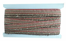 9 mtr lace border trim ribbon saree craft 1 row tassle stone red gold edge