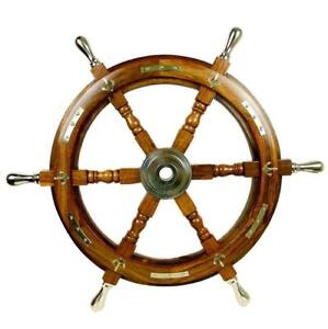 """18"""" Nautical Antique Wooden Ship Steering Wheel Decor Brass Handle Wall Boat"""