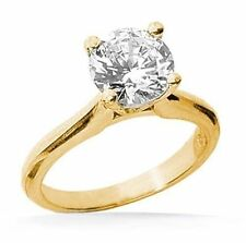 1.25 carat Round cut Diamond Engagement Solitaire 14k Yellow Gold Ring, I SI1