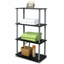 Small Black Bookcase Shelving Storage Unit Wooden Display Stand Cabinet 4 Tier