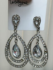 Forever 21 Jewelry Earrings Clear Silver Rhinestone Chandelier Pierced Drops #14