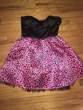 Abbey Dawn Avril Lavigne Punk Goth Bustier Tutu Party Dress Black Pink Leopard M