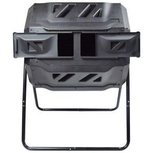 Compost Tumbler 43-Gal Garden Waste Bin - Food Trash Barrel EJWOX 3001 - Black
