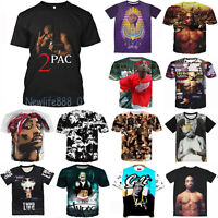 New 3D Men Women T-Shirt 2 Pac Music Rap Hip Hop Two Pac Full Print King S-5XL