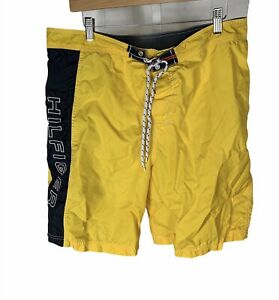 Tommy Hilfiger Swimming Trunks Size XL Spellout Yellow Shorts Free US Shipping