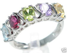 Multi-gemstone Band Ring Size-7 ' Solid 925 Sterling Silver Genuine