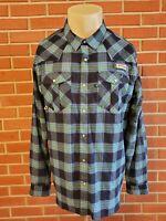 Columbia PFG Omni-Shade Long Sleeve Pearl Snap Mens XL Shirt (Green/Blue) EUC