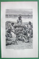 ETHIOPIA Bishari Gum Dealers Africa - Antique Print Engraving