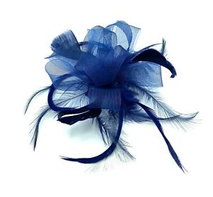 Navy Blue Feather Comb Fascinator Ladies Day Races Wedding Royal Ascot