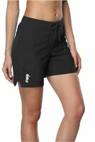 Sociala Women's Long Board Shorts with Pocket Quick Dry Swim, Black, Size Large