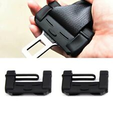 2pcs Black Car Seat Belt Adjuster Safety Buckle Protective Guard Soft Case Shell