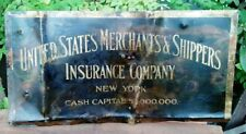 Antique United States Merchants & Shippers Insurance Sign New York Copper+Brass