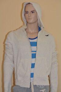 Hollister Men's Hoodie Sweatshirt Top Zip Up M Medium Off White New