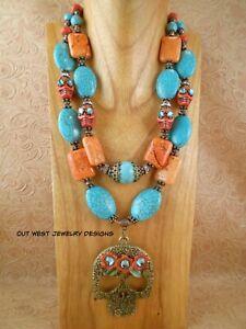 Western Cowgirl Necklace Set - Chunky Turquoise & Orange Howlite - Sugar Skull
