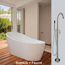 Woodbridge 67''  Freestanding Bathtub B-0001 with Freestanding Faucet B/N finish
