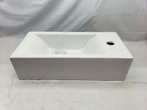 """Whitehaus Collection Isabella Wall Mount Sink Basin w Towel Bar White19-3/4"""" AM5"""