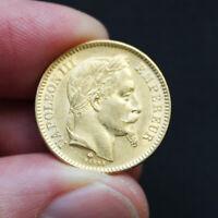 Pièce or 20 francs or Napoléon III Empereur tête laurée Années Variées