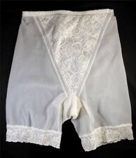 Vintage Bali Moderate Control Long Leg woth Embroidered Tummmy Panel White Lg