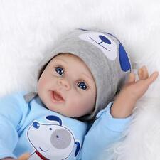 "22""Handmade Full Body Silicone Reborn Baby Doll Baby Vinyl blue eyes male Dolls"
