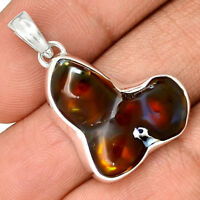 Mexican Fire Agate 925 Sterling Silver Pendant Jewelry PP184838