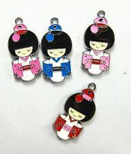 40 Pcs Japanese kimono girl Metal Charms pendants DIY Jewellery Making crafts