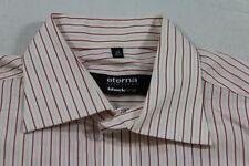 E5989 Eterna Excellent Blackline Businesshemd Kurzarm 40 Rot Weiß Lachs gestreif