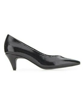 Womens Kitten Heels Extra Wide Fit Size 7 Black Low Heel Pointed Court Shoes NEW