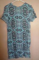 H&M Womens 6 Blue Black Printed Shift Dress