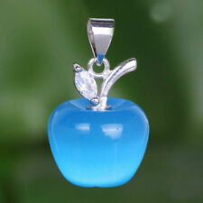Exquisite 925 Silver Apple Shape Blue Cat's Eye & Oval Cut White Zircon Pendants