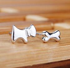 Silver - Dog & Bone Party Stud Mini Asymmetric Earrings Jewelry