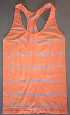 Juniors Ladies Fitted Racerback Tank Top Orange & White City Streets Size L