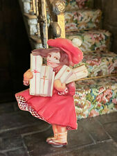 Vintage Miniature Dollhouse Victorian Little Girl & Christmas Gifts Dummy Board